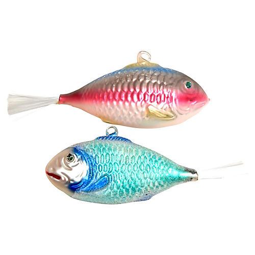 Glass Fish Ornaments, Pair
