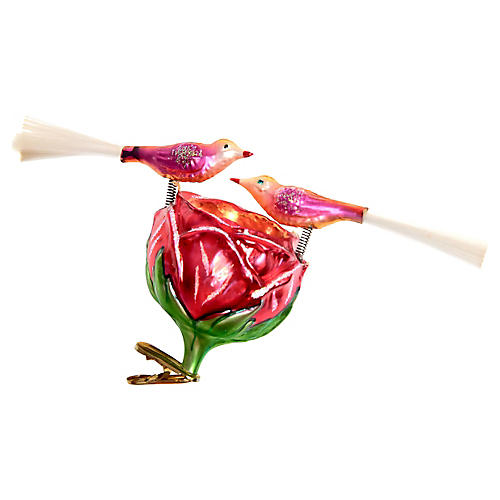 Large Tremblant Birds & Rose Ornament