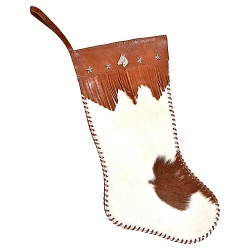 Cowhide Holiday Stocking