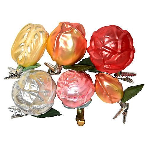 Large Floral Clip-On Ornaments, S/6