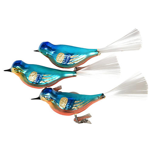 Large Bird Clip Ornaments, S/3
