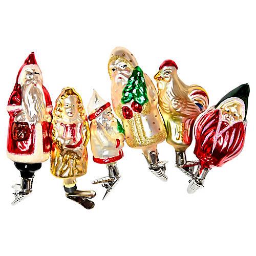 Figurative Clip Ornaments, S/6