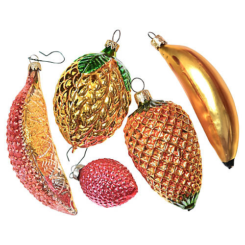 Large Tropical Fruit Ornaments, S/5