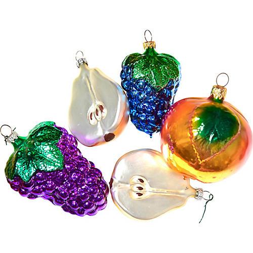 Large Fruit Ornaments, S/5
