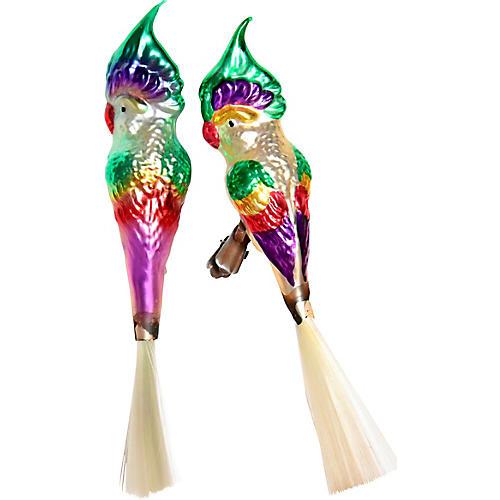 Large Parrot Clip Ornaments, Pair