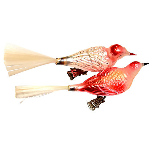 Large Bird Clip Ornaments, Pair