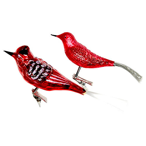 Large Bird Clip On Ornaments, Pair