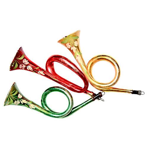 Large Retro Bugle Ornaments, S/3