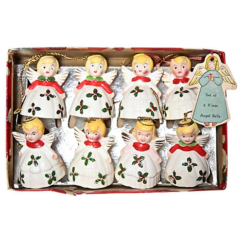 1950s Angel Bell Ornaments, S/8