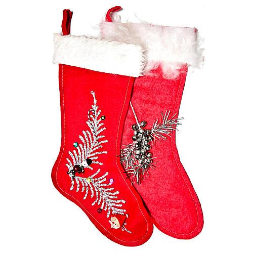 Midcentury Holiday Stockings, Pair