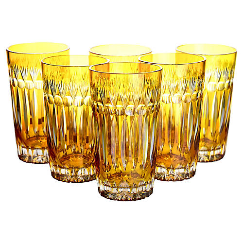 Cut Crystal Yellow Highballs, S/6