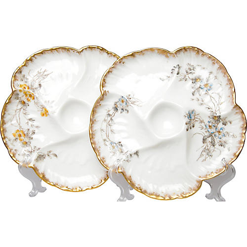 Antique Limoges Oyster Plates, Pair