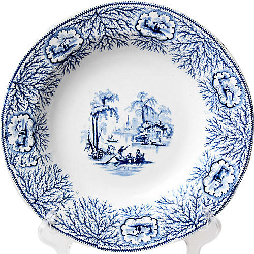 19th-C. Transferware Wall Plate