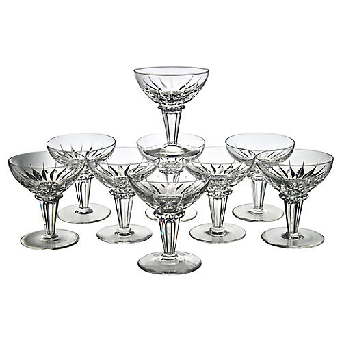Hollywood Regency Crystal Coupes, S/9