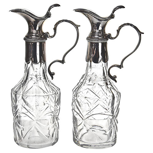 Georgian Sterling & Crystal Bottles, S/2