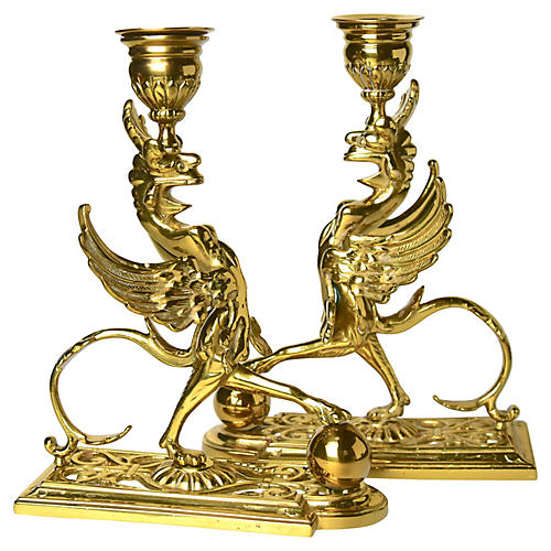 19th-C. Brass Candle Holders, Pair