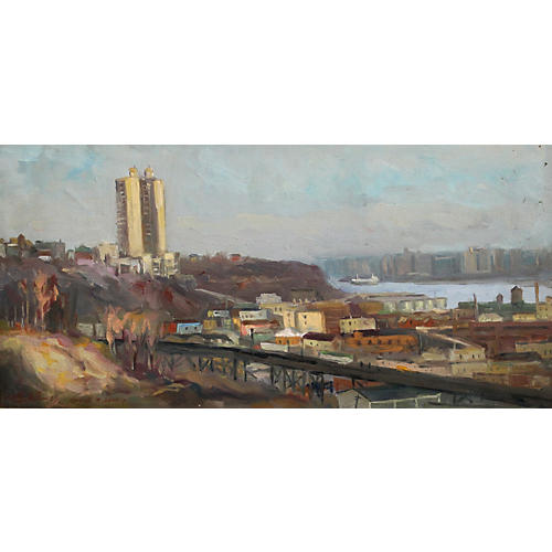 Chuck Wong Train NYC Oil Painting