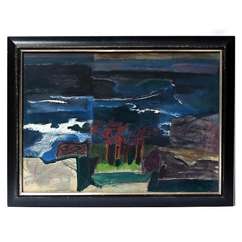 Morris Shulman Red Trees Oil Painting