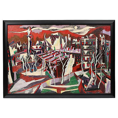 1940s Modernist Cityscape by E. Rollick