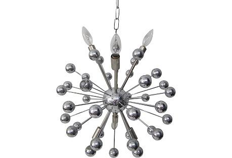 Italian Sputnik Chandelier in Nickel