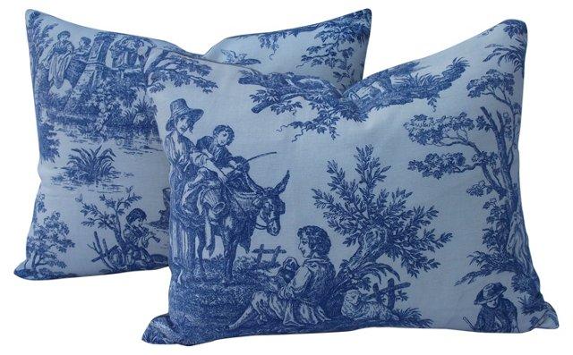 Toile Pillows,  Pair