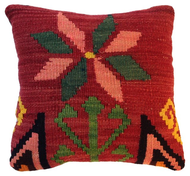Floral Kilim Fragment  Pillow