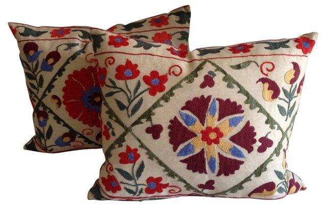 Suzani Fragment Pillows, Pair
