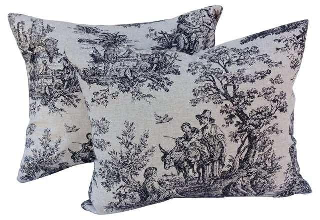 Country Weekend Toile Pillows,   Pair