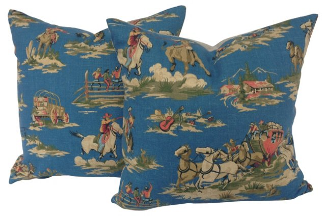 Cowboy-Print  Pillows, Pair