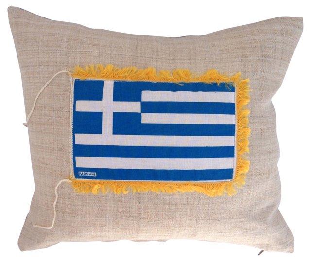 Grain Sack Pillow w/ Greek Nautical Flag