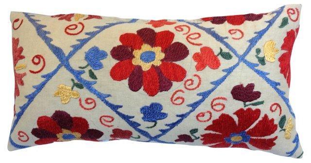 Suzani    Floral Lattice Lumbar Pillow
