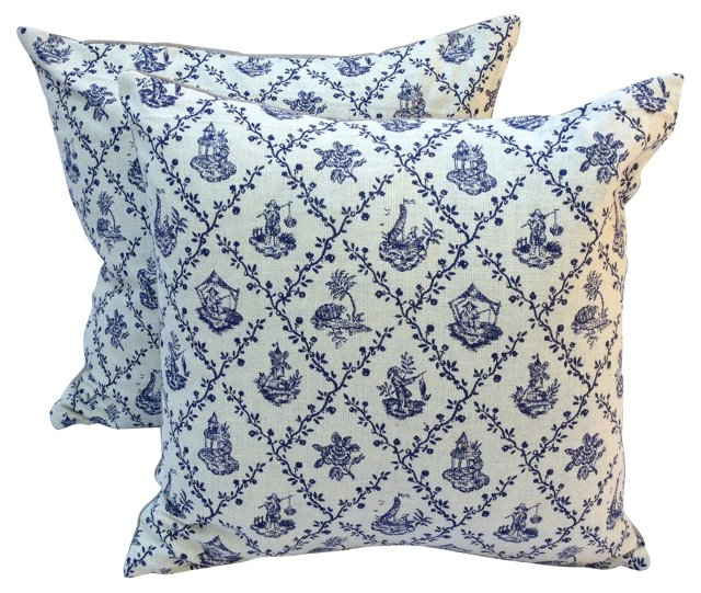 Blue & White Chinoiserie Pillows,  Pair
