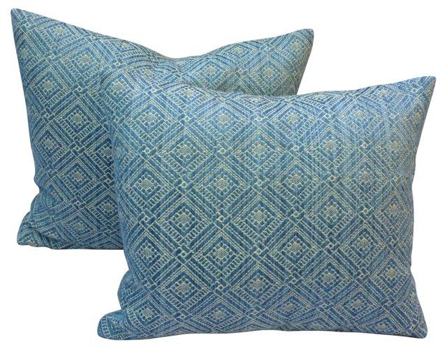 Blue & White Woven  Pillows, Pair