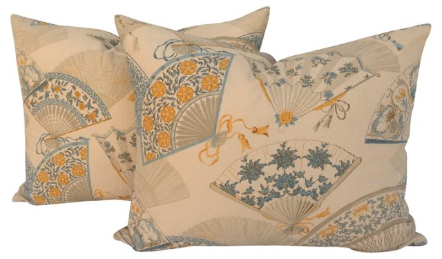 Chinese Fans   Pillows, Pair