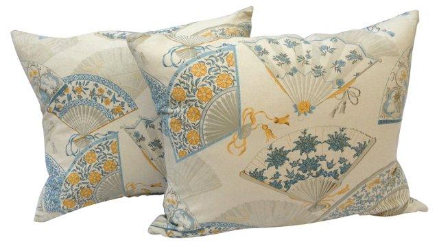 Pillows w/ Chinese   Fan Print, Pair