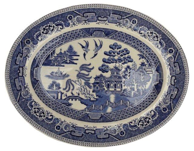 English Blue Willow Wall Platter