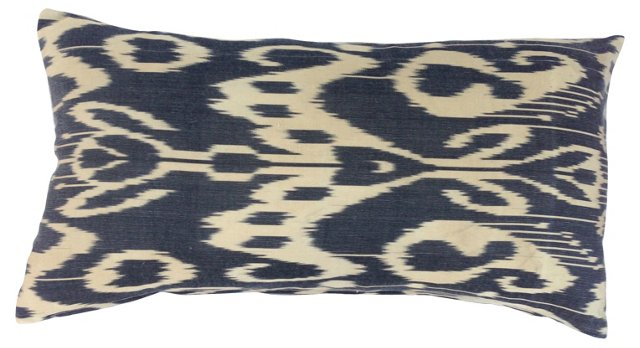 Black & Neutral Silk Ikat Pillow