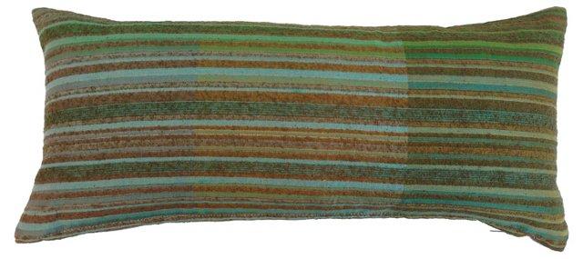 Pillow w/ 1960s Striped   Raw Silk