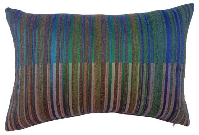 Pillow w/ 1960s Raw Silk Striped Textile