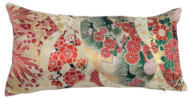 Japanese Obi Metallic Lumbar Pillow