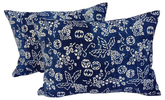 Koi   Batik Pillows, Pair