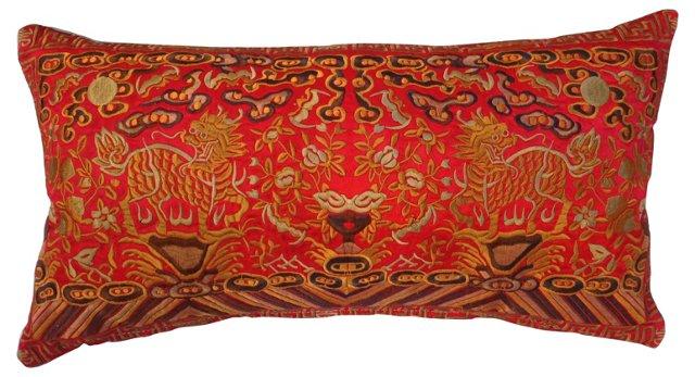 Embroidered Dragons Silk Boudoir Pillow