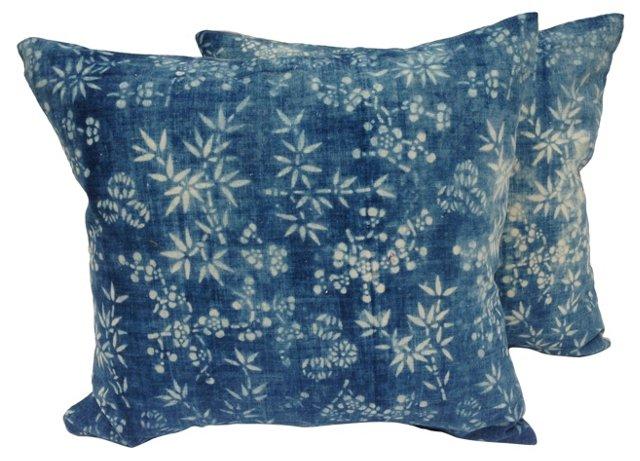Indigo Batik Bamboo   Pillows, Pair