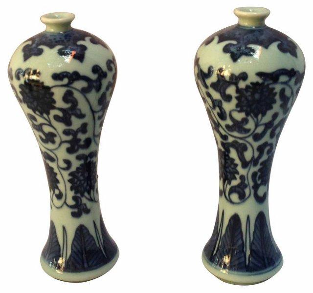 Chinese Floral Vases,  Pair