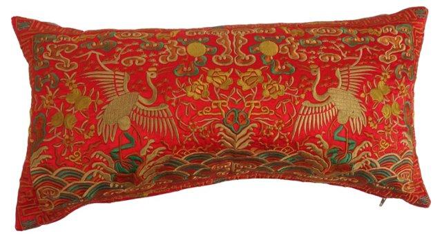 Silk Embroidered  Boudoir Pillow
