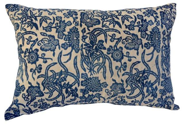 Blue & White Batik Butterfly Pillow