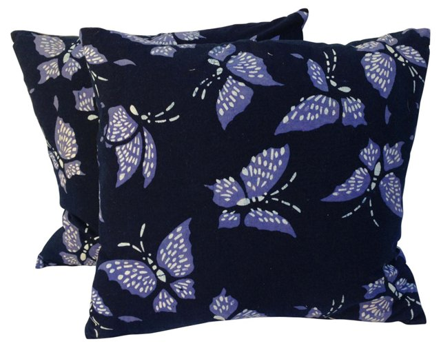 Butterfly Batik Pillows, Pair