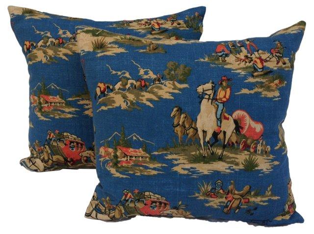 Cowboy Print  Pillows,     Pair