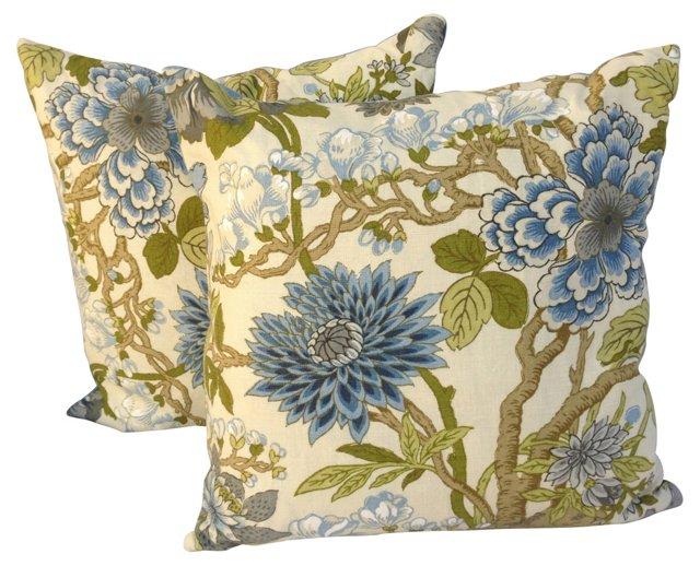 Blue & White Floral Pillows, Pair