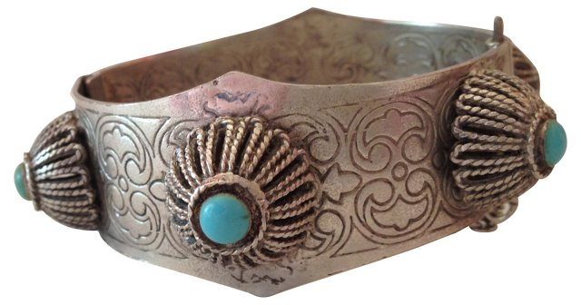Silver Etched Turquoise Cuff